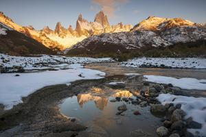 Reflections of Mount Fitz Roy and Cerro Torre in autumn, Argentina by Ed Rhodes