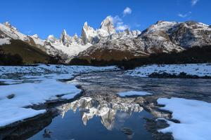 Snow scene of Mount Fitz Roy and Cerro Torre, Los Glaciares National Park, Patagonia, Argentina by Ed Rhodes