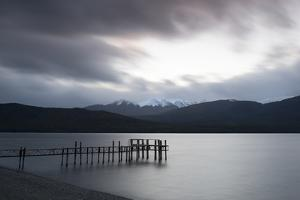 Te Anau jetty with lake and mountain in background, Southland, South Island, New Zealand by Ed Rhodes