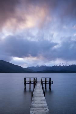 Te Anau jetty with lake and mountain, Southland, South Island, New Zealand by Ed Rhodes