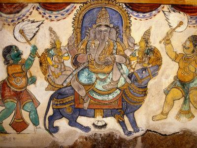 Frescoes on Walls of Inner Courtyard, Brihadishwara Temple, Thanjavur, India