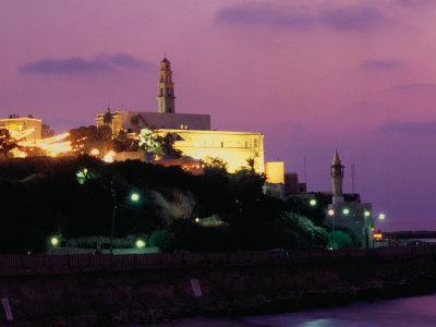 Sunset Behind Coastal Town of Jaffa, Tel Aviv, Israel