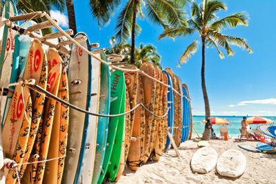 Surfboards in the Rack at Waikiki Beach - Honolulu
