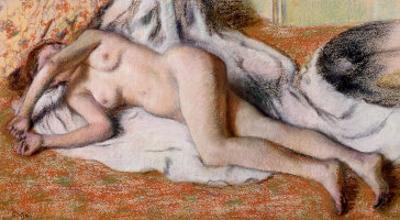 After the Bath Or, Reclining Nude, circa 1885 by Edgar Degas