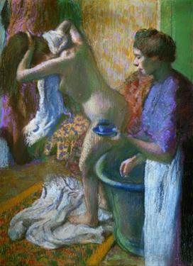 Breakfast after the bath. Pastel. by Edgar Degas