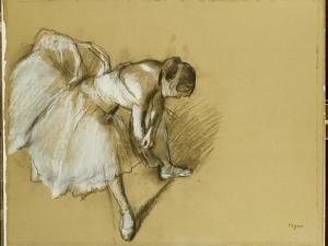 Dancer Adjusting Her Shoe, C.1890 by Edgar Degas