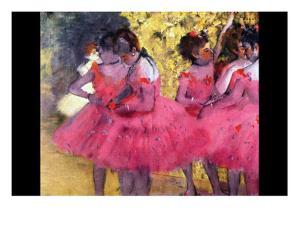 Dancers in Pink Between the Scenes by Edgar Degas