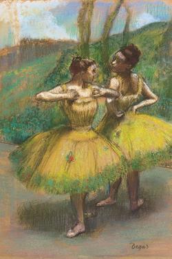 Dancers with Yellow Dresses; Danseuses Jupes Jaunes, C.1896 by Edgar Degas