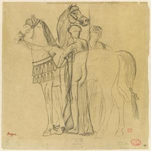 Deux chevaux conduits par deux femmes by Edgar Degas