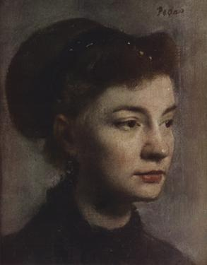 Head of a Young Woman by Edgar Degas