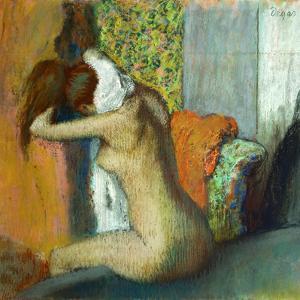 Jeune femme se sechant la nuque, 1895 Young woman drying her neck. RF 4044. by Edgar Degas