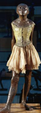 Little Dancer Aged Fourteen, 1880-1881, Bronze with Muslin Skirt and Satin Hair Ribbon by Edgar Degas