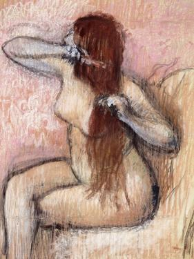 Nude Seated Woman Arranging Her Hair; Femme Nu Assise, Se Coiffant, C.1887-1890 by Edgar Degas