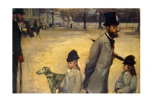 Place De La Concorde, (Viscount Lepic and His Daughters Crossing the Place De La Concord), 1875 by Edgar Degas