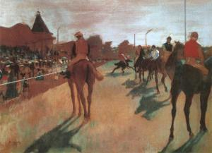 Race Horses in Front of the Grandstand by Edgar Degas