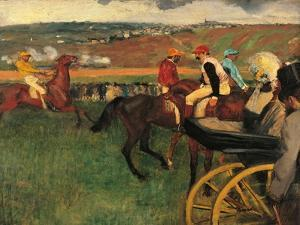 Racecourse, Amateur Jockeys Near a Carriage by Edgar Degas