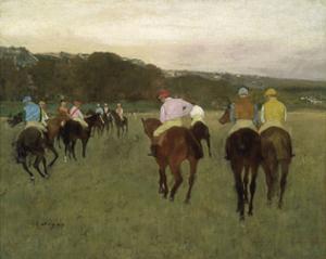Racehorses at Longchamp, 1871 by Edgar Degas