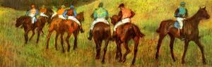 Racehorses in a Landscape (detail) by Edgar Degas