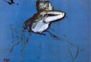 Edgar Degas Sitting Dancer in Profile with Hand on her Neck Art Print Poster