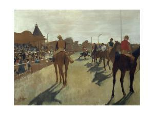 The Parade, also known as Race Horses in Front of the Tribunes, Ca. 1866-68 by Edgar Degas