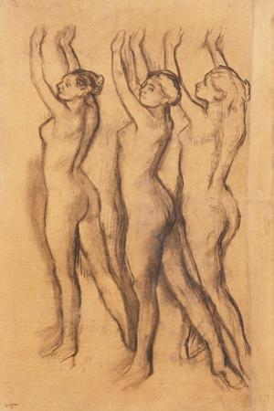 Three Dancers in Bodysuits, with Raised Arms by Edgar Degas