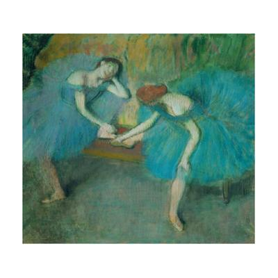 Two dancers resting, or two dancers in blue Pastel, 1898 by Edgar Degas