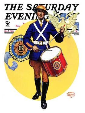 """American Legion Drummer,"" Saturday Evening Post Cover, October 7, 1933 by Edgar Franklin Wittmack"