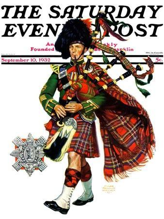 """""""Bagpipes,"""" Saturday Evening Post Cover, September 10, 1932"""