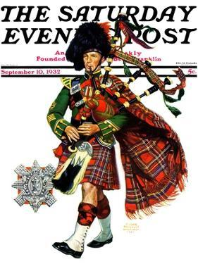 """Bagpipes,"" Saturday Evening Post Cover, September 10, 1932 by Edgar Franklin Wittmack"