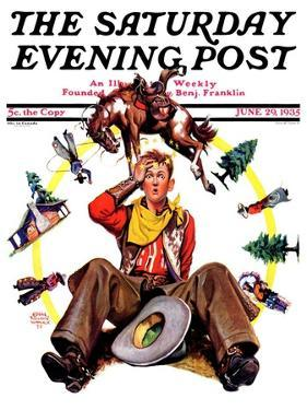 """""""Bronco Buster on Butt,"""" Saturday Evening Post Cover, June 29, 1935 by Edgar Franklin Wittmack"""