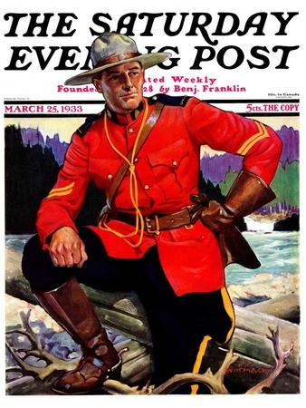 """""""Canadian Mountie,"""" Saturday Evening Post Cover, March 25, 1933"""
