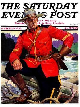 """""""Canadian Mountie,"""" Saturday Evening Post Cover, March 25, 1933 by Edgar Franklin Wittmack"""