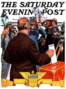 """""""Candidate Voting,"""" Saturday Evening Post Cover, November 7, 1936 by Edgar Franklin Wittmack"""
