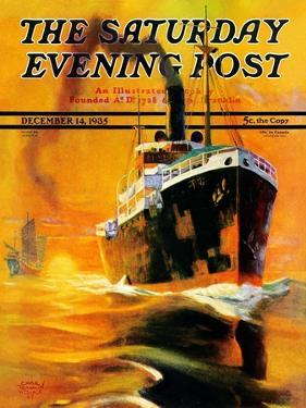 """""""Freighter,"""" Saturday Evening Post Cover, December 14, 1935 by Edgar Franklin Wittmack"""