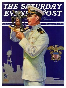 """""""Naval Officer,"""" Saturday Evening Post Cover, February 24, 1934 by Edgar Franklin Wittmack"""