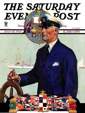 """""""Ship's Captain,"""" Saturday Evening Post Cover, July 28, 1934 by Edgar Franklin Wittmack"""
