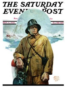 """""""Storm at Sea,"""" Saturday Evening Post Cover, November 6, 1926 by Edgar Franklin Wittmack"""
