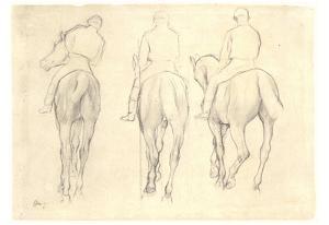 Edgar Germain Hilaire Degas (Three jockeys study of a horseback) Art Poster Print