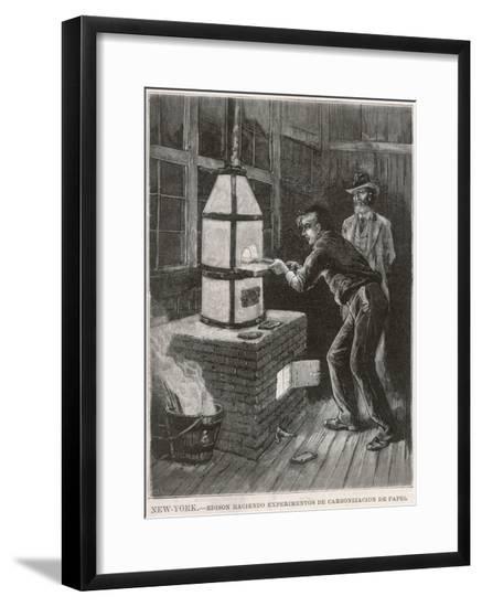 Edison at Work 1880--Framed Giclee Print
