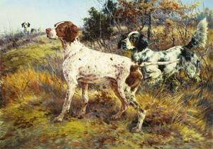 A German-Short Haired Pointer and Two Setters in a Landscape by Edmund Henry Osthaus
