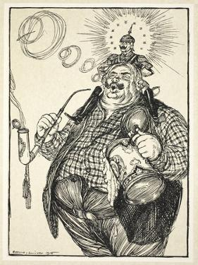 The Giant Michel and the Dwarf Wilhelm ('The Dwarf Thinks Himself Big Because He Can Spit a Long… by Edmund Joseph Sullivan