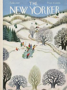 The New Yorker Cover - February 1, 1947 by Edna Eicke