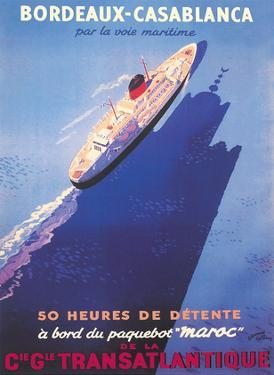 Bordeaux to Casablanca - CIE GLE Transatlantique (French Line) by Edouard Collin