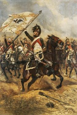 The Trophy, Soldier of 4th French Dragoon Regiment with Prussian Flag, 1806 by Edouard Detaille