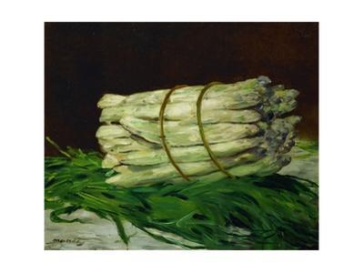 A bunch of asparagus.Oil on canvas, 1880 44 x 54 cm by Edouard Manet