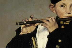 A flute player, Detail, Painting by Edouard Manet by Edouard Manet