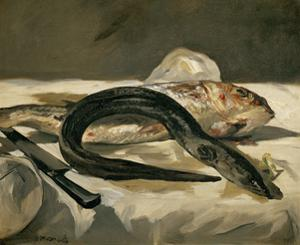 Anguille et rouget-Eel and mullet, 1864 Canvas, 38 x 46,5 cm R. F.1951-9. by EDOUARD MANET