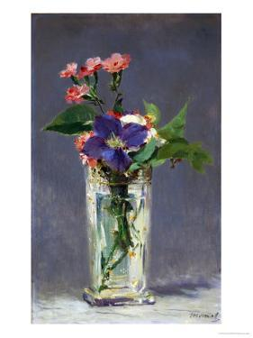 Carnations and Clematis in a Crystal Vase, 1882 by Edouard Manet