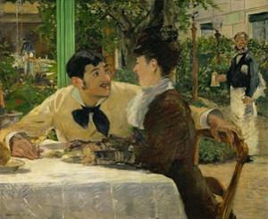 Chez le Pere Lathuille, en plein air (At the café), 1878 . by Edouard Manet