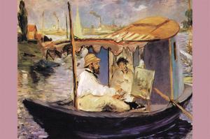 Claude Monet Dans Son Bateau Atelier by Edouard Manet